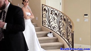 Stunning bride facialized by her Camera guy