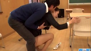 Filthy teacher Yui Oba goes sleazy on a palatable cock